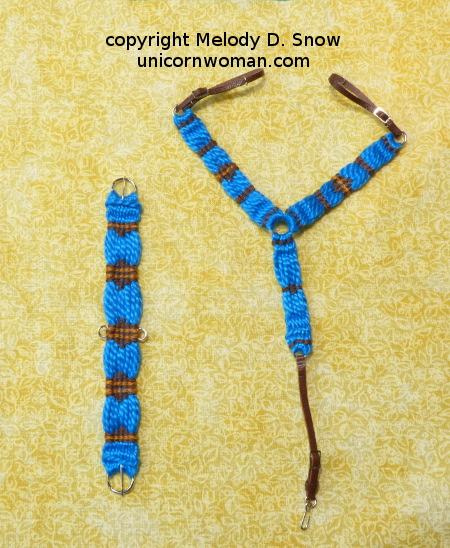 Scale-miniature western breast collar and cinch set by Melody D. Snow - unicornwoman.com